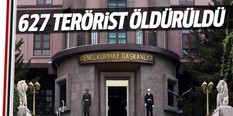 Öldürülen terörist sayısı 627 oldu