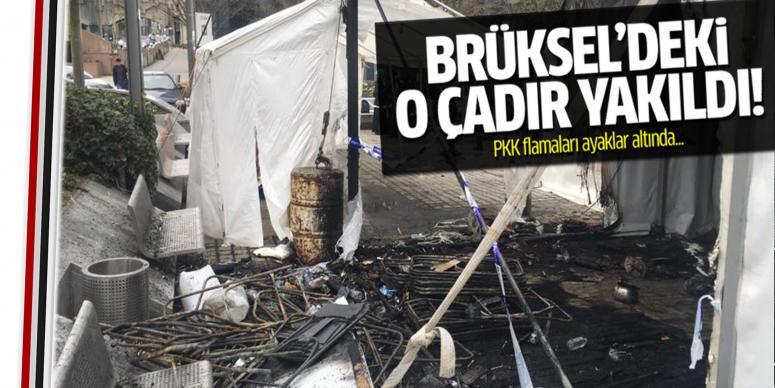 Brüksel'de açılan PKK çadırı yakıldı