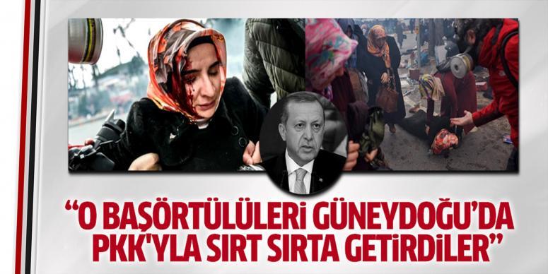 Başörtülü kızları PKK'yla sırt sırta getirdiler