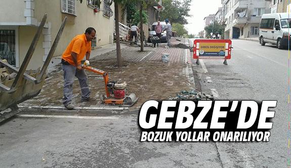 Gebze'de bozuk yollar onarılıyor