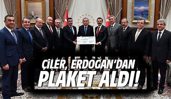Çiler, Erdoğan'dan Plaket Aldı!