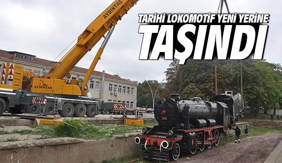 Tarihi lokomotif yeni yerine taşındı