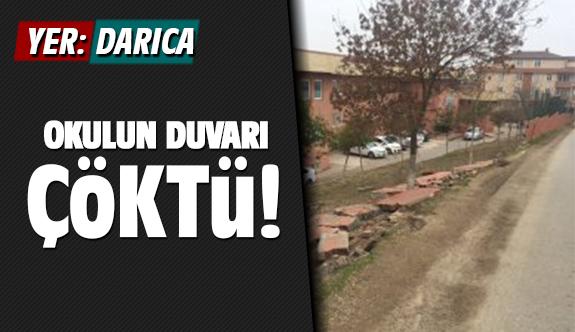 Darıca'da Okulun duvarı çöktü!