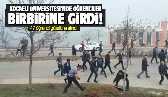 Kocaeli Üniversitesi'nde karşıt görüşlü öğrenciler birbirine girdi!