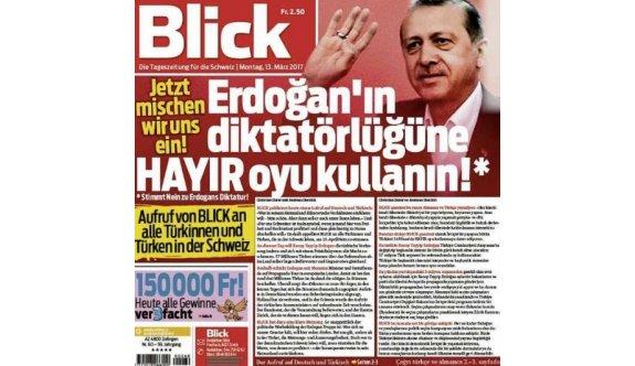 İsviçre gazetesi Blick'ten skandal Erdoğan manşeti!