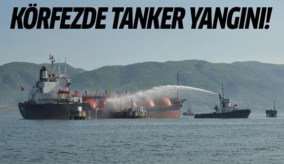 Kocaeli Körfezi'nde LPG yüklü tanker alev alev yandı
