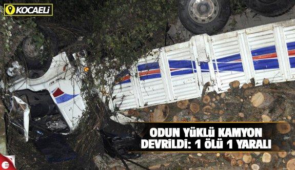Odun yüklü kamyon devrildi: 1 ölü, 1 yaralı