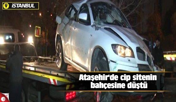 Ataşehir'de cip sitenin bahçesine düştü