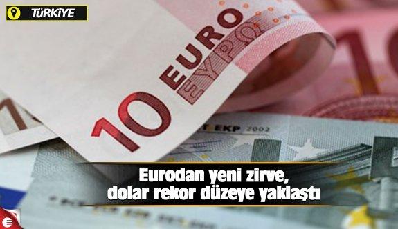 Eurodan yeni zirve, dolar rekor düzeye yaklaştı