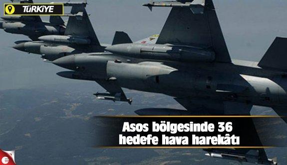 Asos bölgesinde 36 hedefe hava harekâtı