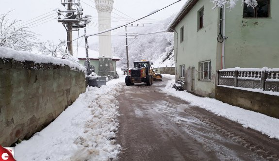 Büyükşehir ekipleri karla mücadele ediyor