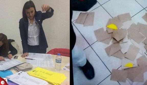 CHP Buca Kadın Kolları'nın kongresinde sandığa tekme