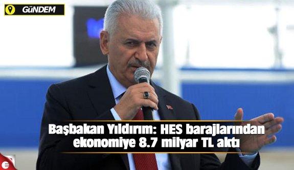 Başbakan Yıldırım: HES barajlarından ekonomiye 8.7 milyar TL aktı