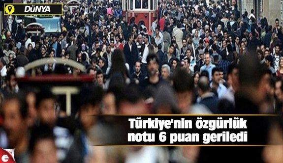 Türkiye'nin özgürlük notu 6 puan geriledi