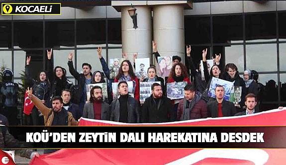 Kocaeli Üniversitesi'nde Zeytin Dalı Harekatı'na destek yürüyüşü