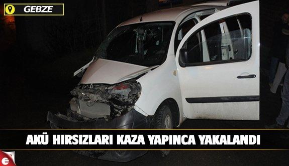 Polisten kaçan akü hırsızı kaza yapınca yakalandı