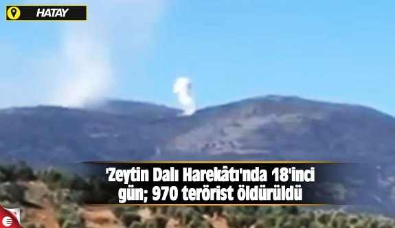 'Zeytin Dalı Harekâtı'nda 18'inci gün; 970 terörist öldürüldü