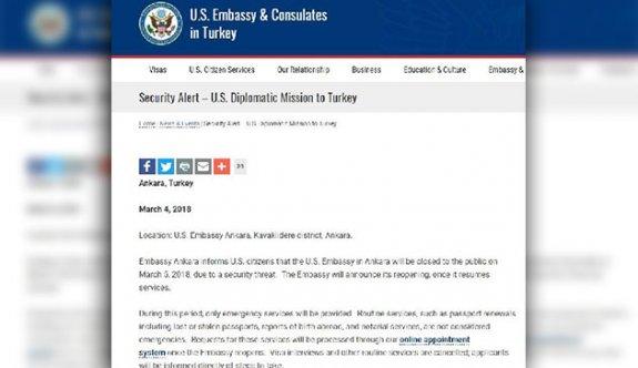 Ankara'daki ABD Büyükelçiliği bir günlüğüne kapatılacak