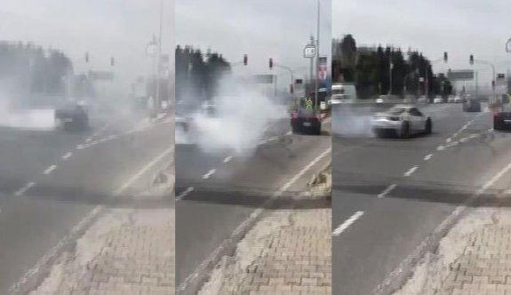 Beykoz'da 3 lüks araçtan tehlikeli gösteri