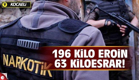 196 kilo 705 gram eroin ile 63 kilo 539 gram esrar!
