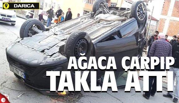 Darıca'da araç takla attı