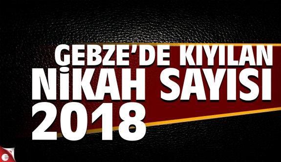2018 yılında Gebze'de kaç nikah kıyıldı