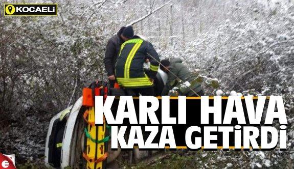 Kar yağışı Kocaeli'de kazaya sebep oldu