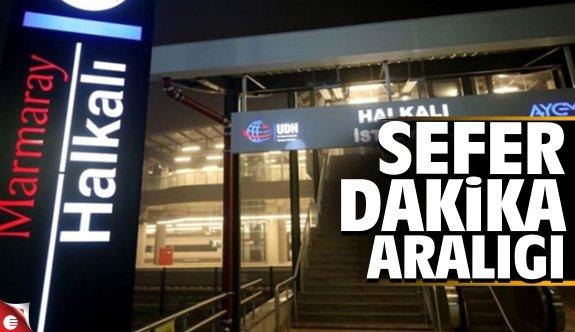 Marmaray Gebze-Halkalı hattı sefer dakika aralığı
