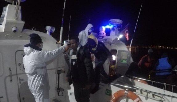 Balıkesir'de Türk kara sularına itilen 35 sığınmacı kurtarıldı