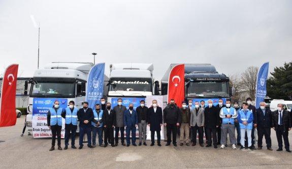 Bursa'dan Ağrı, Muş ve Bitlis'teki ihtiyaç sahiplerine 3 tır yardım malzemesi gönderildi