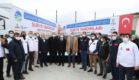 Sakarya'dan Suriye'ye 11 yardım tırı gönderildi