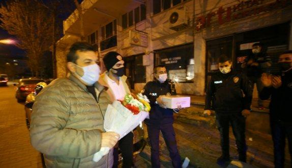 Kırklareli'nde kavga ihbarına giden polis ekiplerine sürpriz kutlama