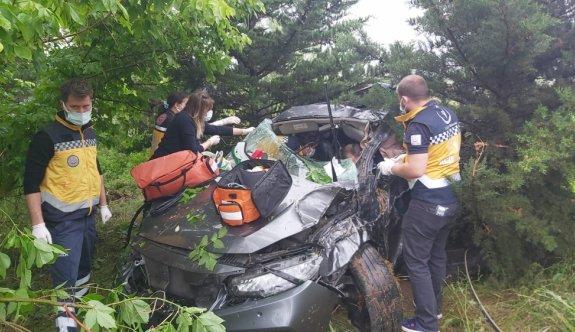 Lüleburgaz'da otomobil şarampole devrildi: 6 yaralı