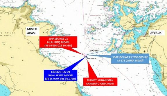 Yunan sahil güvenlik botu Ayvalık açıklarında ihlal ettiği Türk kara sularından çıkarıldı