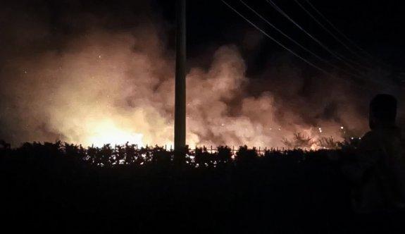 Bursa'da sanayi sitesindeki otluk alanda çıkan yangında 3 araç zarar gördü