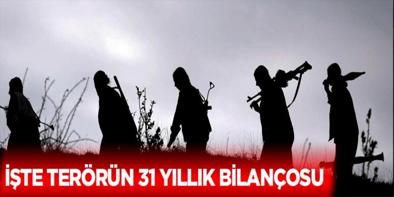İşte PKK'nın 31 yıllık bilançosu!