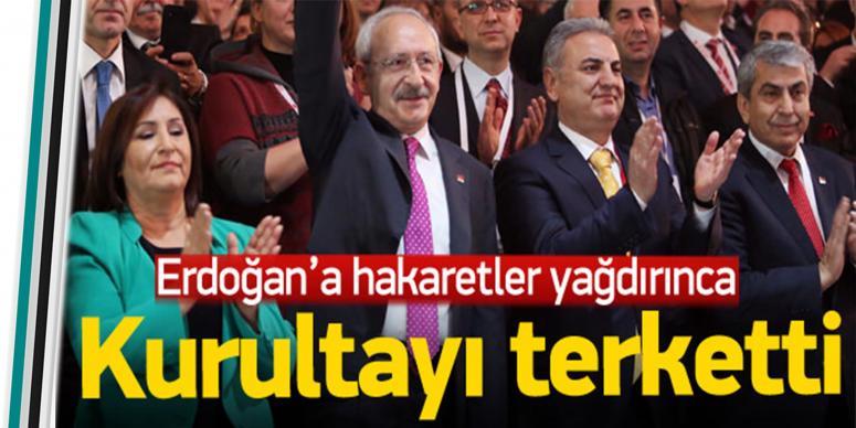 Erdoğan'a hakaret edince kurultayı terketti