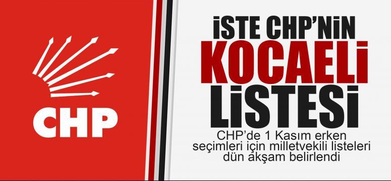 CHP'nin Kocaeli listesi