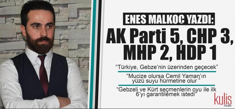 AK Parti 5, CHP 3, MHP 2, HDP 1