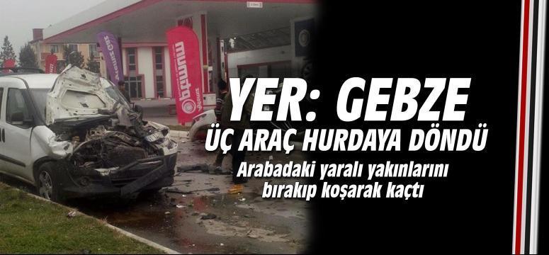 Gebze'de üç araç hurdaya döndü