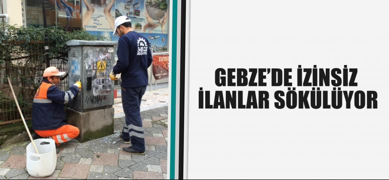 Gebze'de izinsiz ilanlar sökülüyor