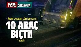 Çayırova'da freni boşalan kamyon...