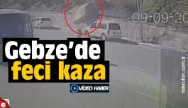 Gebze'de bayan sürücü şapampole yuvarlandı