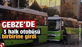 3 halk otobüsü birbirine girdi