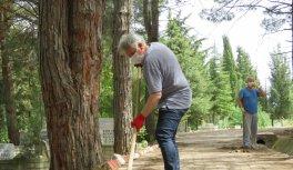 Köy mezarlığı sosyal medyadan yapılan çağrıyla imece usulü temizlendi