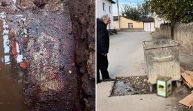 Roma dönemine ait mozaik, çöp konteyneri altında